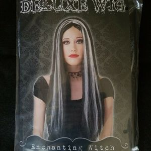 Adult Wigs Costume Long Black with White Streaks